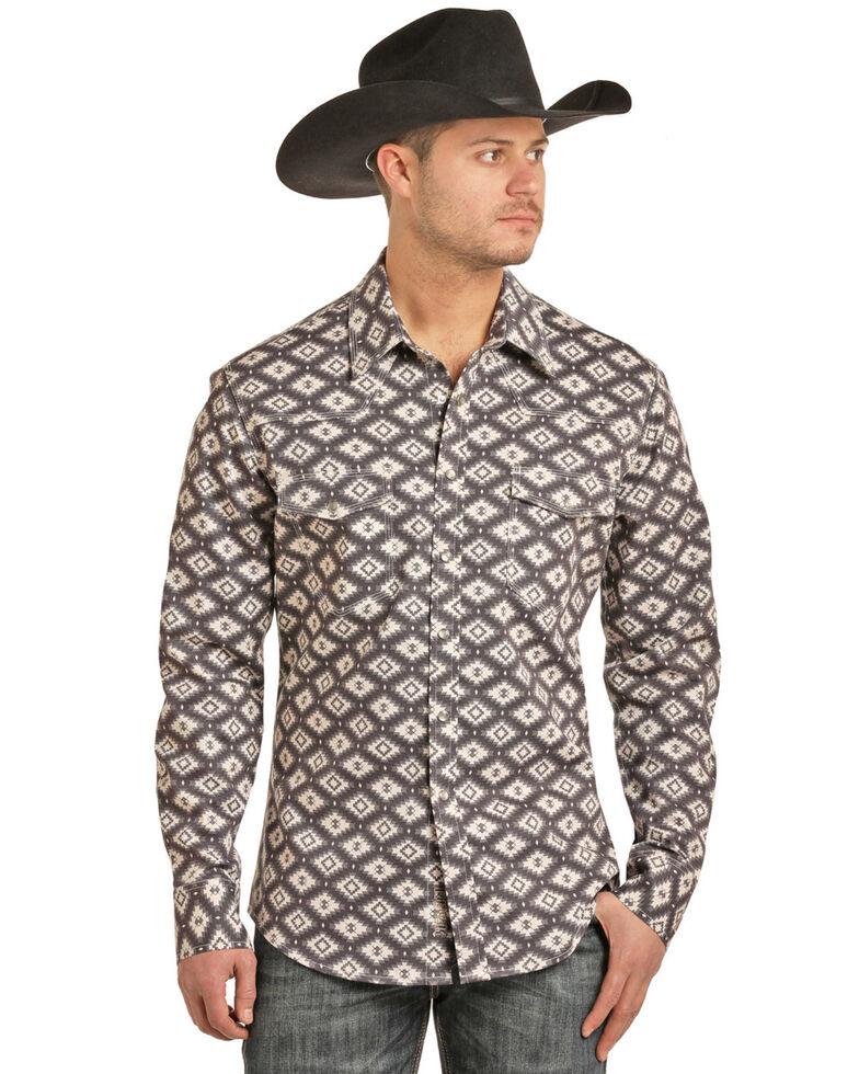 Rock & Roll Cowboy Men's FR Printed Aztec Twill Long Sleeve Work Shirt - Big , Charcoal, hi-res