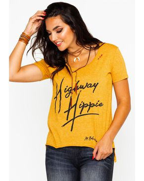 Bohemian Cowgirl Women's Highway Hippie Graphic Tee , Dark Yellow, hi-res