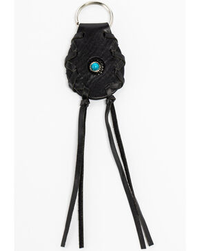 Shyanne Leather Concho & Tassel Key Chain, Black, hi-res