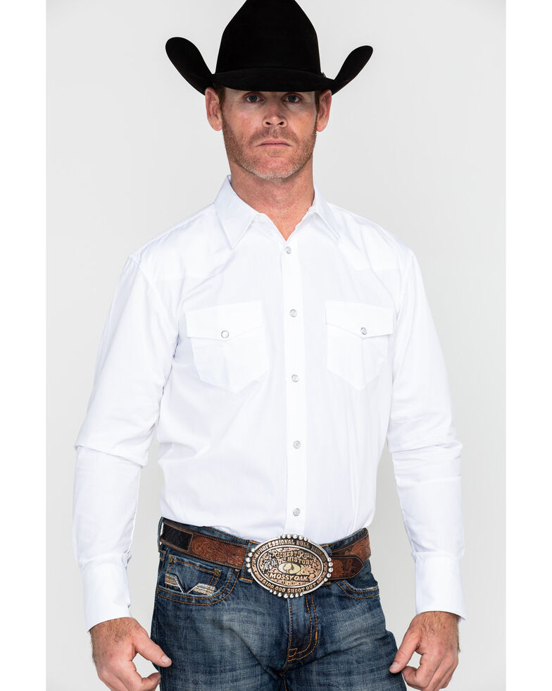 Gibson Men's White Solid Long Sleeve Western Shirt - Tall, White, hi-res