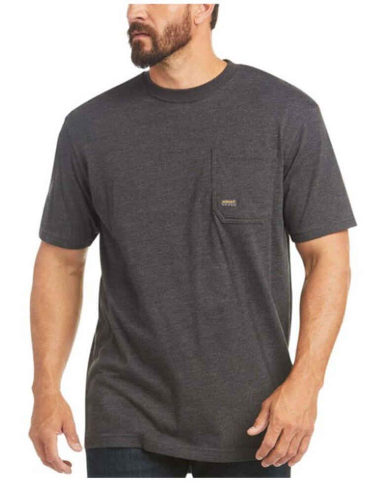 Ariat Men's Heather Charcoal Rebar Cotton Strong American Raptor Graphic Work T-Shirt - Big , Charcoal, hi-res