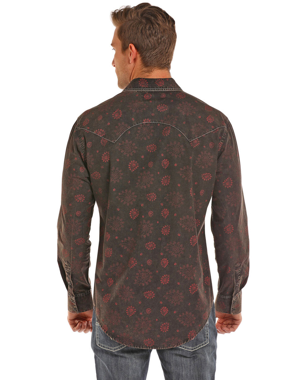 Rock & Roll Cowboy Men's Poplin Paisley Print Long Sleeve Western Shirt , Red, hi-res