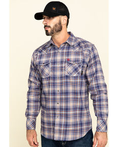 Ariat Men's FR Navy Everest Retro Plaid Long Sleeve Work Shirt , Navy, hi-res
