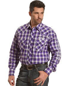 Wrangler Men's Purple Plaid Logo Long Sleeve Western Shirt , Purple, hi-res