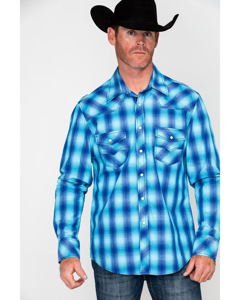 Rock & Roll Cowboy Men's Crinkle Washed Yarn Dye Plaid Long Sleeve Western Shirt , Blue, hi-res