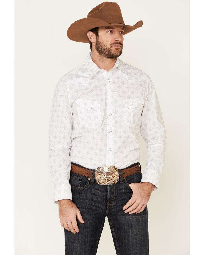 Rock & Roll Denim Men's White Medallion Print Long Sleeve Snap Western Shirt , White, hi-res