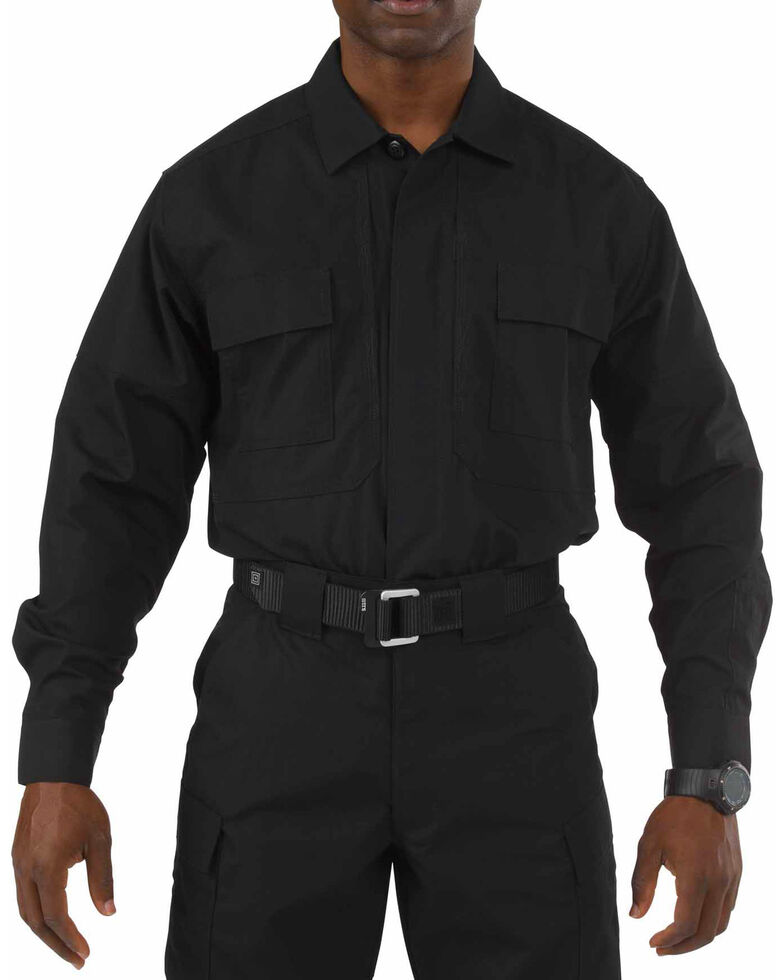 5.11 Tactical Taclite TDU Long Sleeve Shirt - 3XL and 4XL, Black, hi-res