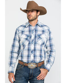 Roper Men's Classic Blue Plaid Woven Plaid Long Sleeve Western Shirt , Blue, hi-res