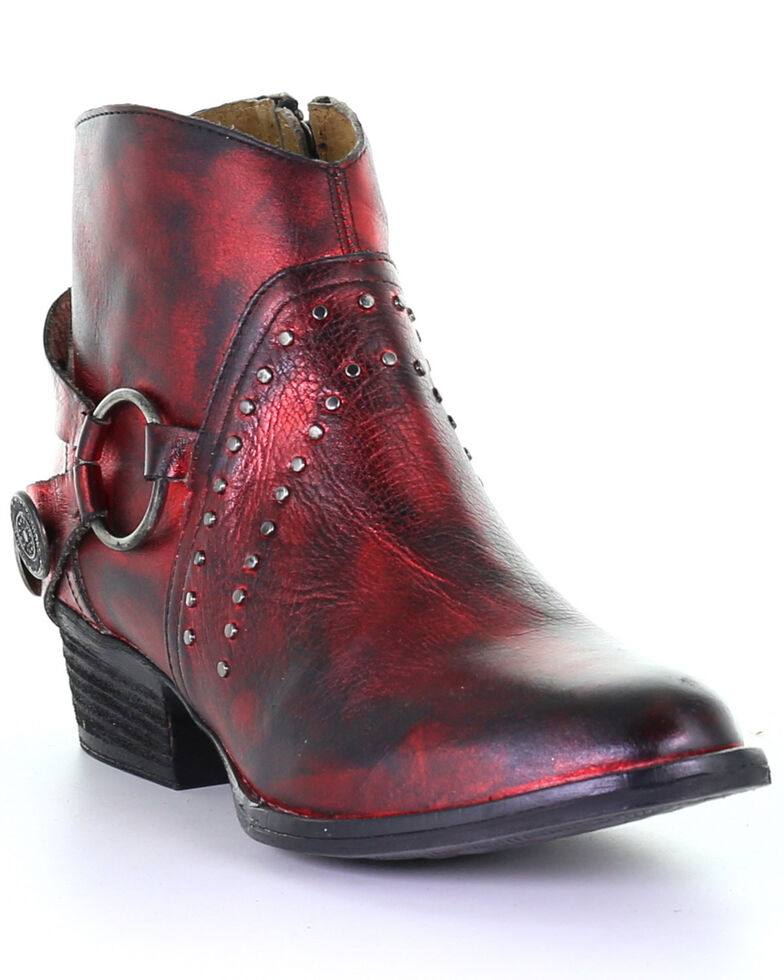 Corral Women's Studded Harness Fashion Booties - Round Toe, Black/red, hi-res