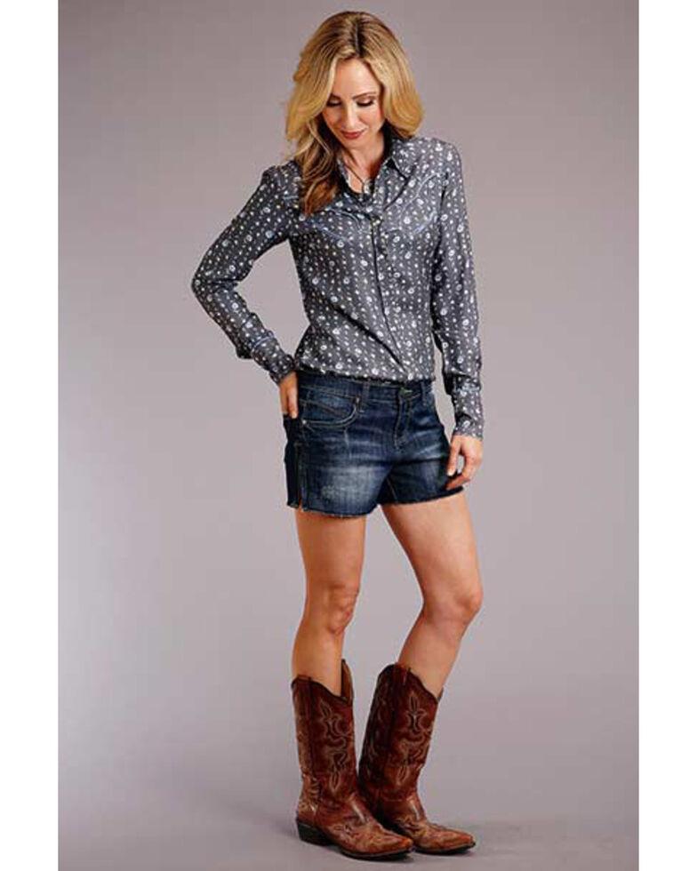 Stetson Women's Grey Floral Long Sleeve Western Shirt , Grey, hi-res