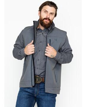 Cinch Men's Printed Soft Shell Bonded Zip-Up Vest , Grey, hi-res
