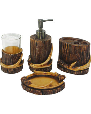 HiEnd Accent Brown Antler Four-Piece Bathroom Set, Brown, hi-res