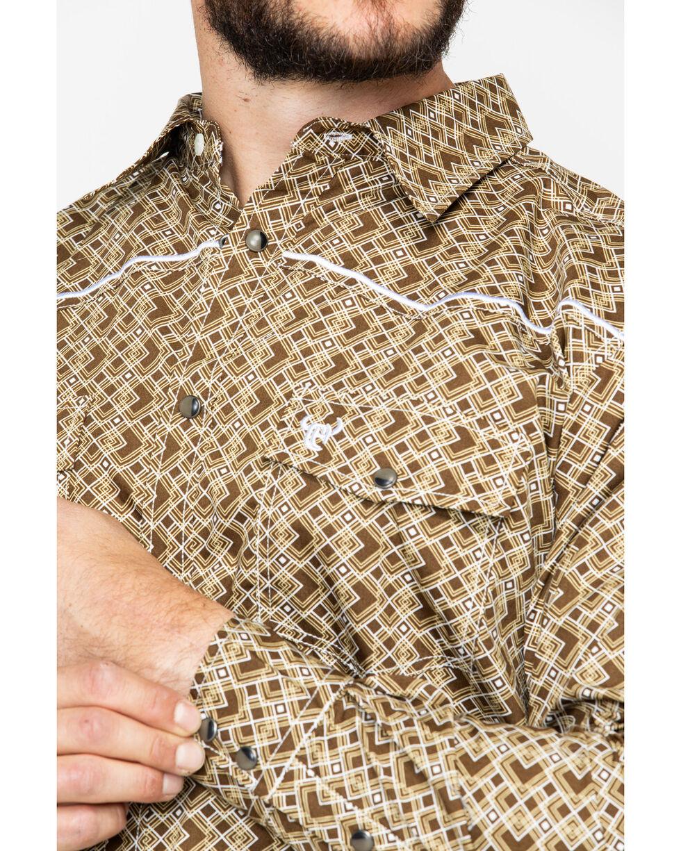 Cowboy Hardware Men's Double Diamond Print Long Sleeve Western Shirt , Tan, hi-res