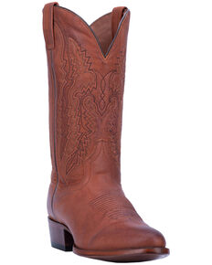 Dan Post Men's Miller Leather Western Boots – Round Toe , Cognac, hi-res