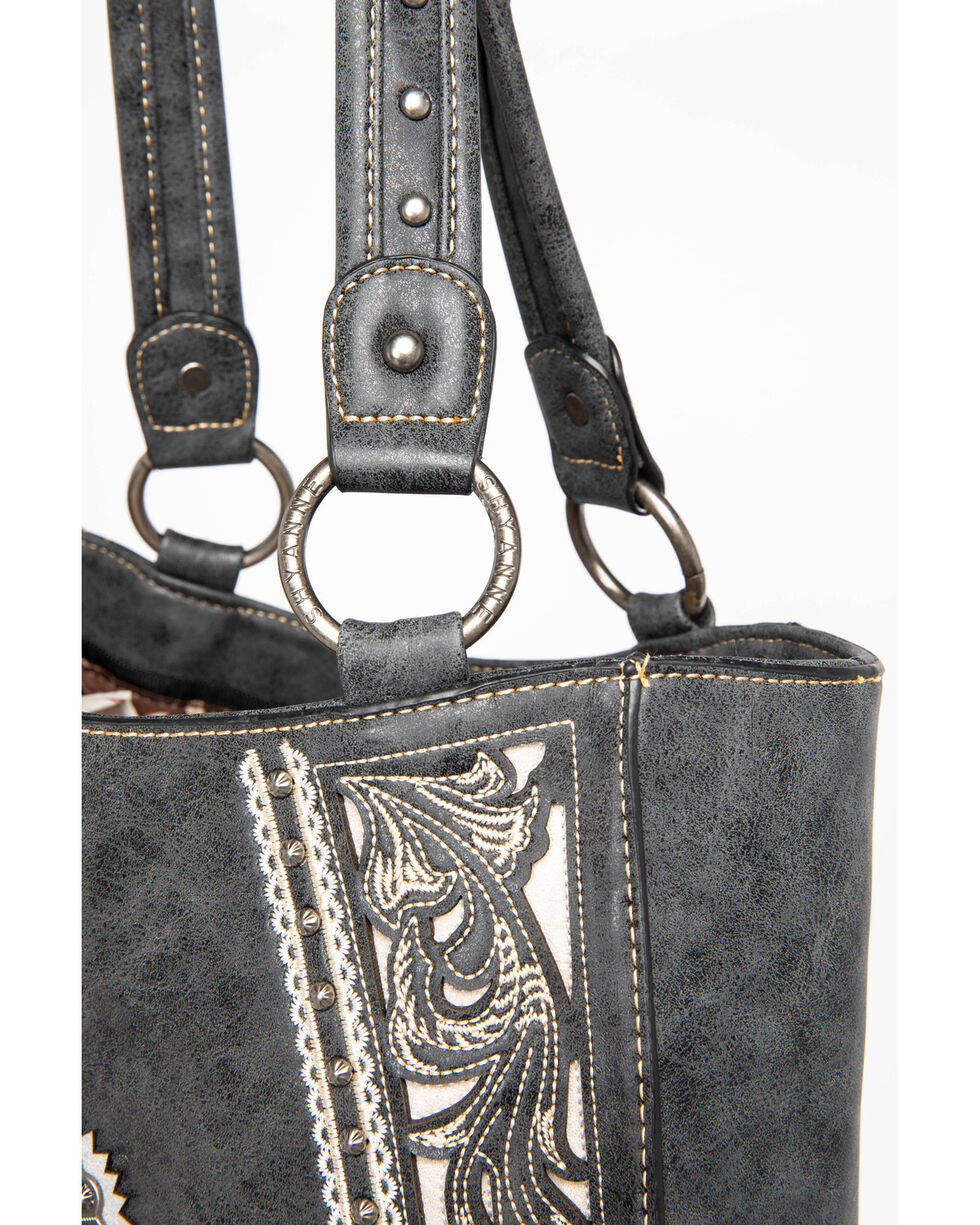 Shyanne Women's Cutout Boot Scroll Inlay Tote, Black, hi-res