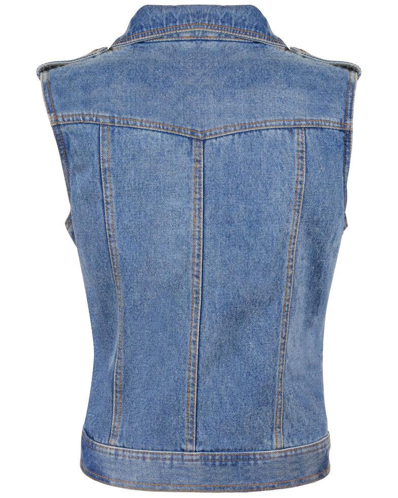 Milwaukee Leather Women's Studded Zip Front Denim Vest - 3X/4X, Blue, hi-res