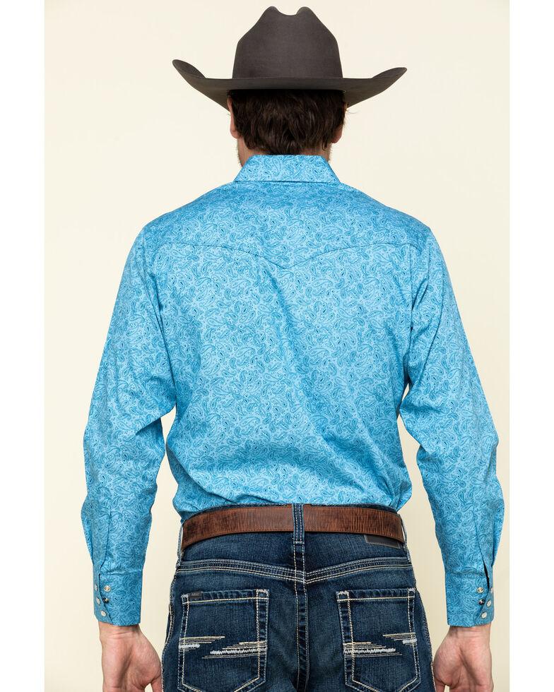 Ely Cattleman Men's Blue Paisley Print Long Sleeve Western Shirt , Blue, hi-res