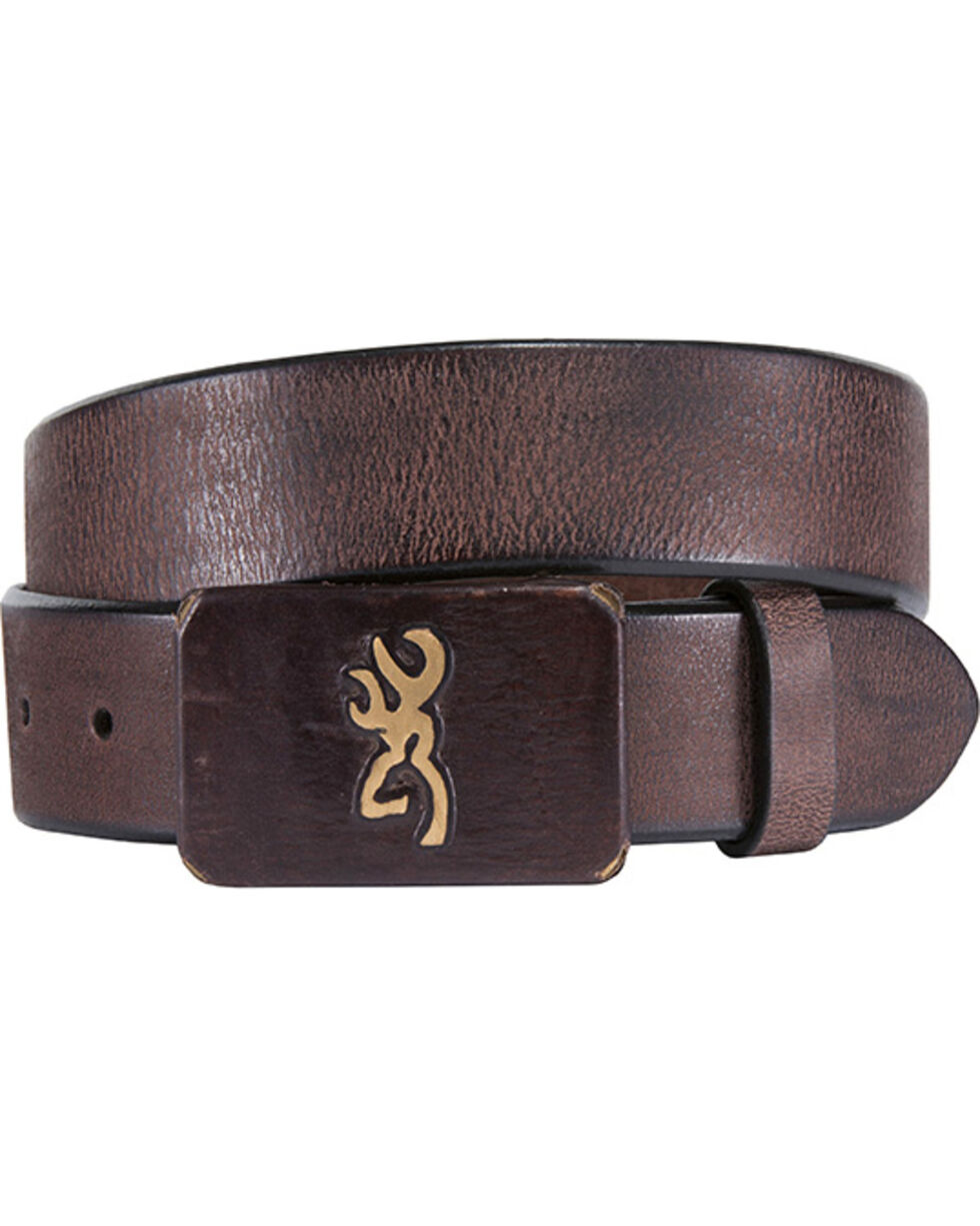 Browning Men's Brass Buckle with Buckmark Leather Belt, Brown, hi-res