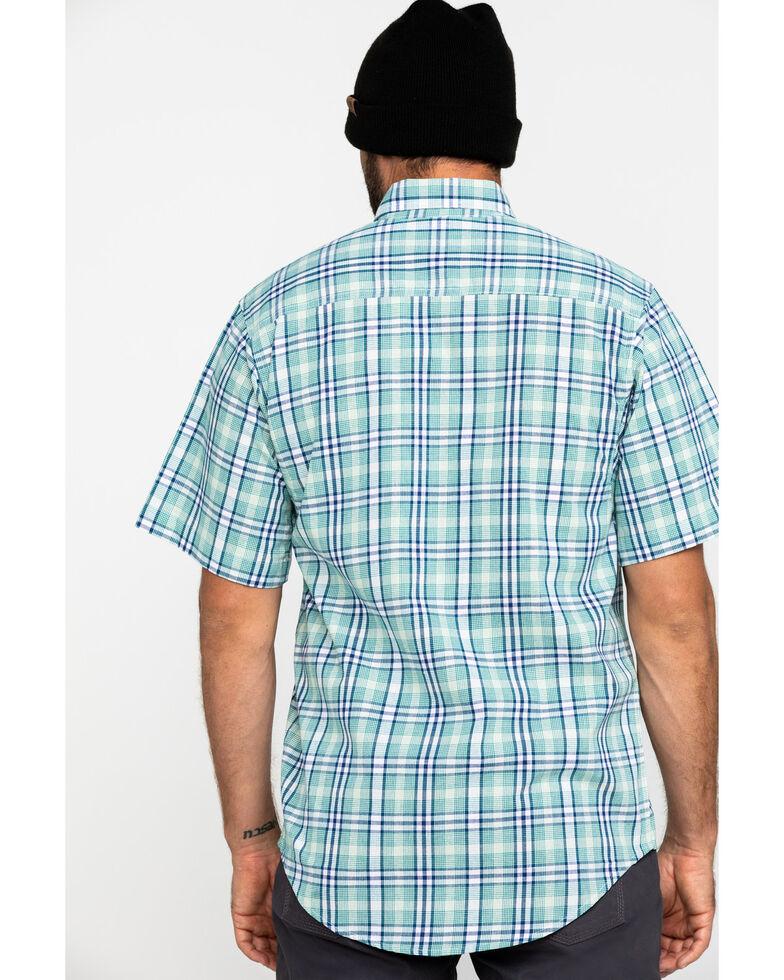 Wrangler Riggs Men's Green Plaid Short Sleeve Work Shirt , Green, hi-res
