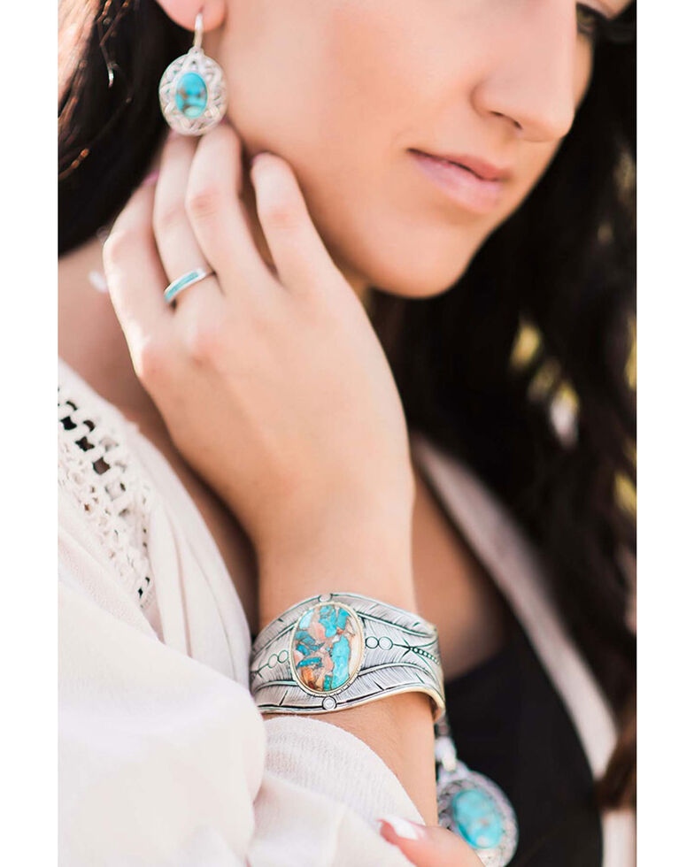 Montana Silversmiths Women's Nature's Beauty Glacier Turquoise Feather Cuff Bracelet, Turquoise, hi-res