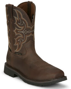 Justin Men's Ricochet Waterproof Western Work Boots - Composite Toe, Tan, hi-res