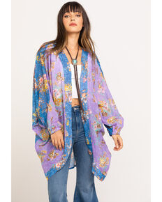Aratta Women's Lilac Floral Duster, Blue, hi-res