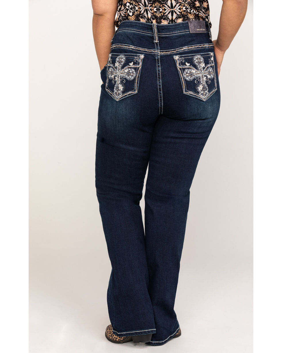 Grace In LA Women's Thick Stitch Cross Embroidered Dark Boot Jeans - Plus , Indigo, hi-res