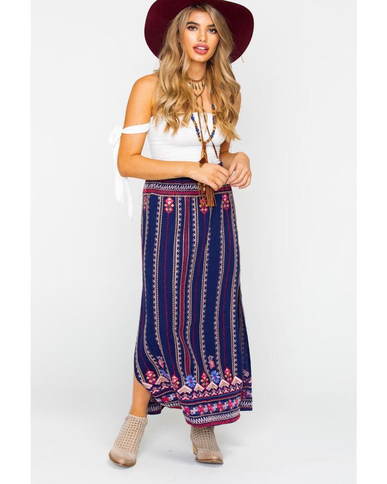 Johnny Was Women's Fredrique Side Slit Maxi Skirt, Navy, hi-res
