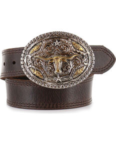 Cody James Kid's Long Horn Buckle and Belt, Brown, hi-res
