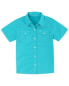 Wrangler Toddler Boys' Turquoise Mini Geo Print Short Sleeve Western Shirt , Blue, hi-res