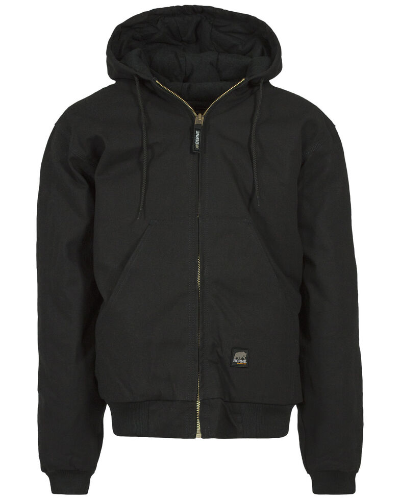 Berne Men's Duck Original Hooded Zip Front Work Jacket, Black, hi-res