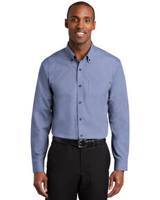 Red House Men's Navy Nailhead Non-Iron Long Sleeve Work Shirt , Navy, hi-res
