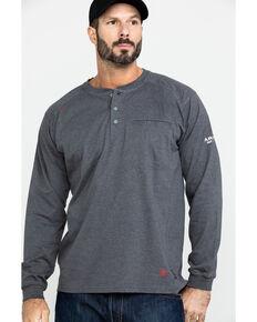 Ariat Men's FR Air Henley Long Sleeve Work Shirt - Tall , Charcoal, hi-res