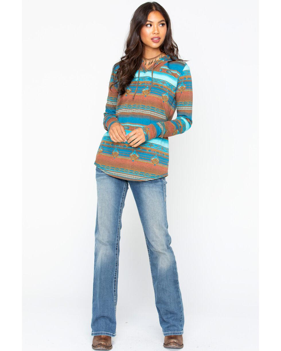 Panhandle Women's Serape Print 3/4 Sleeve Hoodie, Turquoise, hi-res