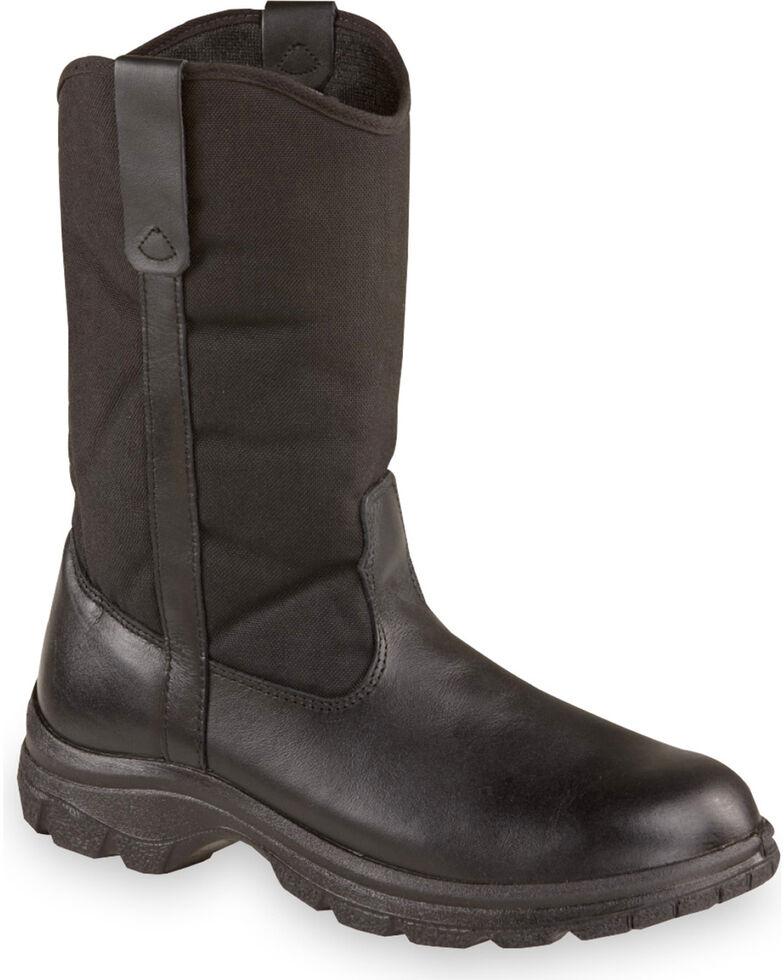 "Thorogood Men's 10"" SoftStreets Wellington Work Boots - Steel Toe, Black, hi-res"