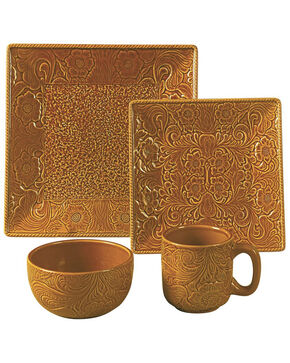 HiEnd Accents Savannah Mustard Dinnerware Set, Mustard, hi-res