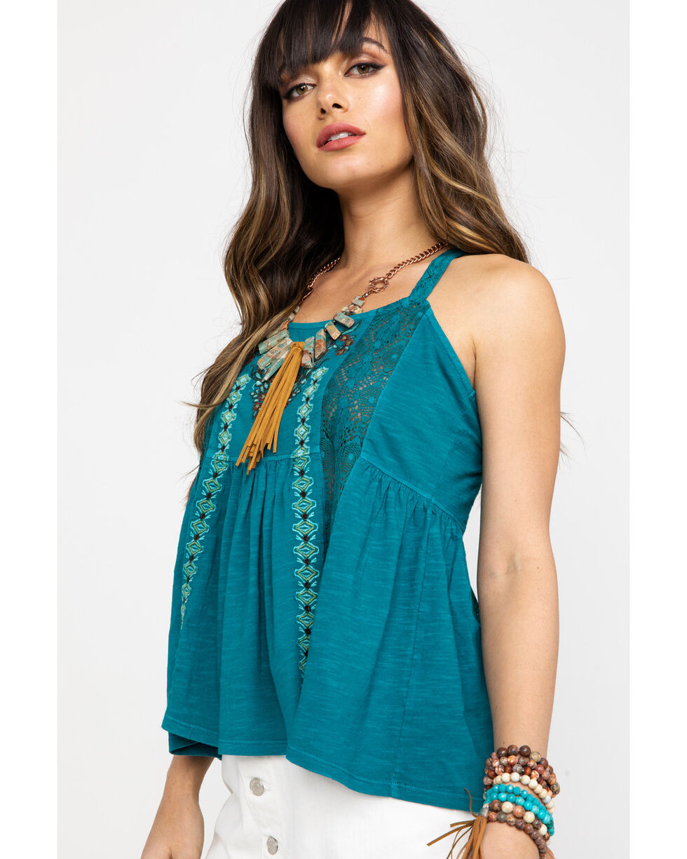 Shyanne Women's Teal Embroidered Halter Baby Doll Top, Teal, hi-res