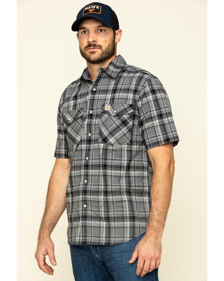 Carhartt Men's Black Rugged Flex Bozeman Plaid Short Sleeve Work Shirt - Big , Black, hi-res