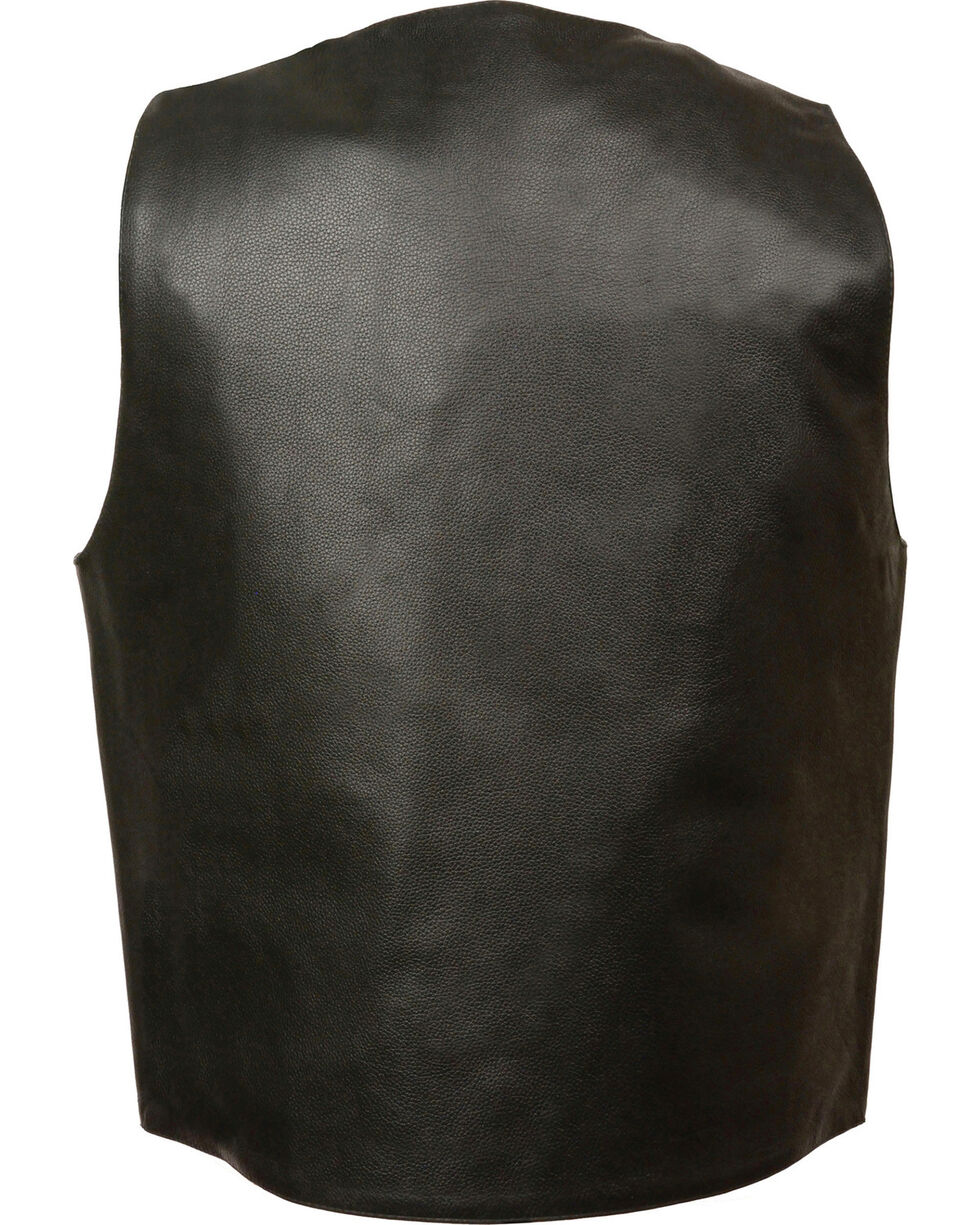 Milwaukee Leather Men's Buffalo Snap Plain Side Vest - 5X, Black, hi-res
