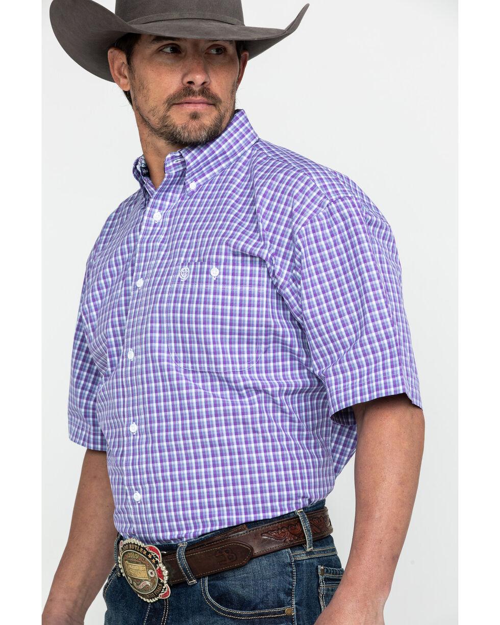 George Strait By Wrangler Men's Purple Small Plaid Short Sleeve Western Shirt , Purple, hi-res