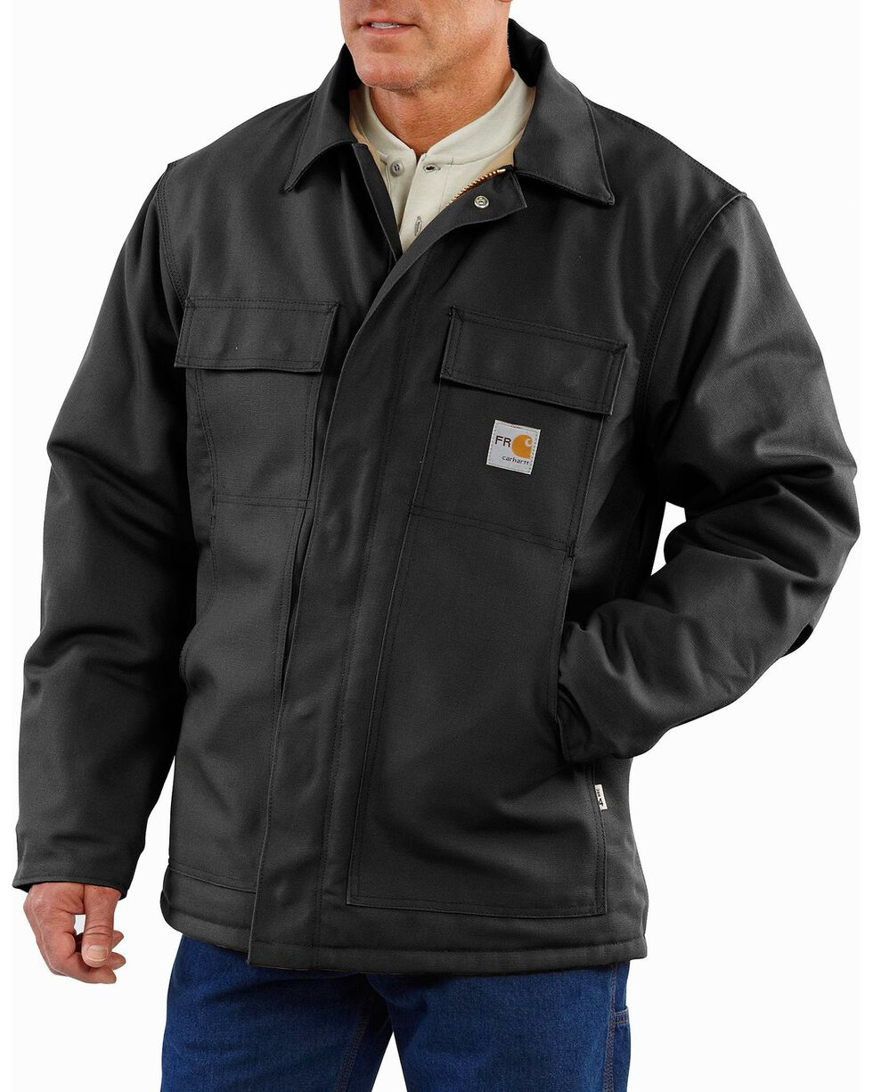 Carhartt Men's Flame-Resistant Duck Traditional Jacket, Black, hi-res