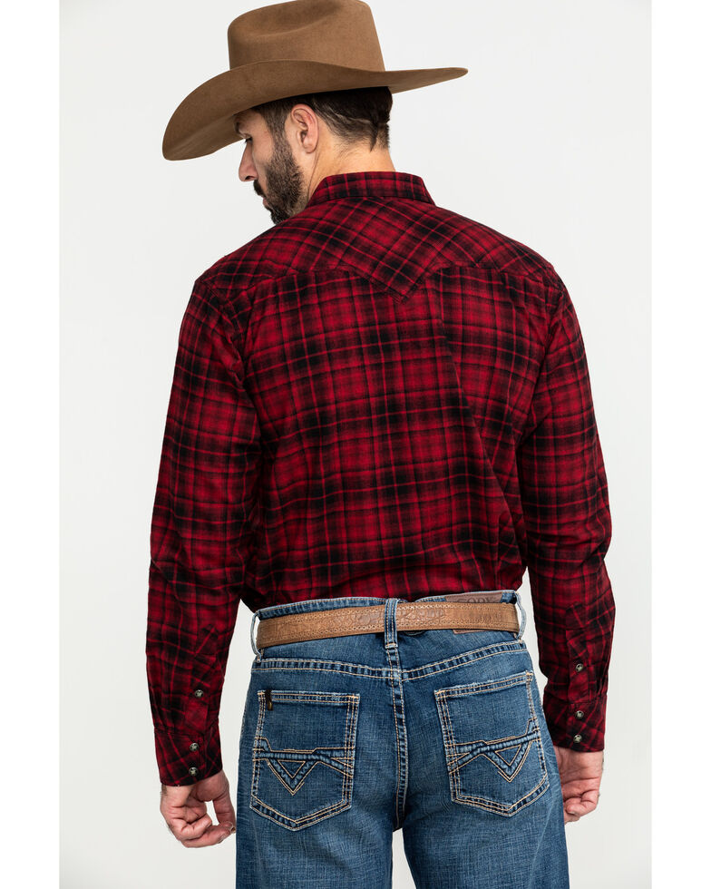 Ariat Men's Forrest Retro Snap Long Sleeve Western Flannel Shirt , Chilli, hi-res