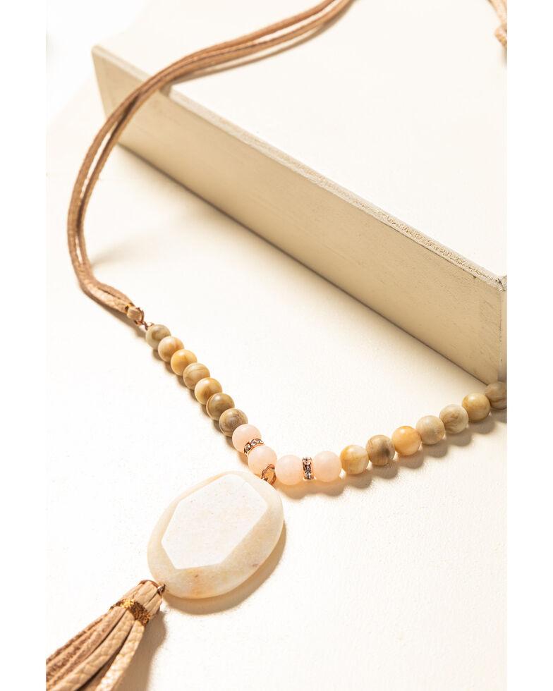 Shyanne Women's Desert Dreams Stone Leather Tassel Necklace , Rust Copper, hi-res