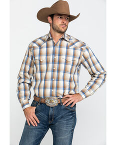 Roper Men's Wheat Ombre Plaid Long Sleeve Western Shirt , Brown, hi-res
