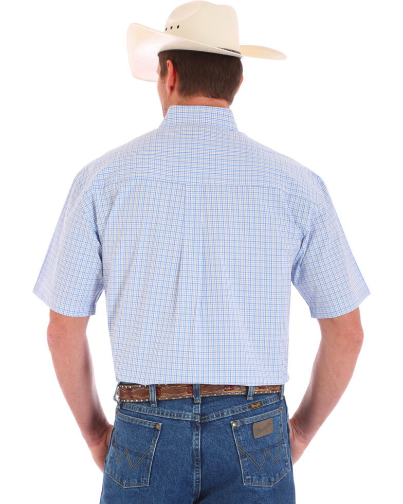 Wrangler Men's Blue Small Plaid Short Sleeve Western Shirt , Blue, hi-res