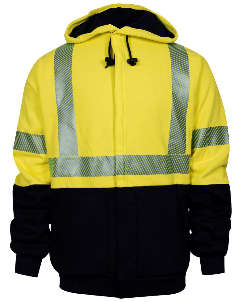 National Safety Apparel Men's 2X-3X FR Vizable Hybrid Deluxe Zip Front Hooded Work Sweatshirt - Tall, Bright Yellow, hi-res
