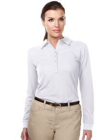 Tri-Mountain Women's White 4X Stamina Long Sleeve Polo - Plus, White, hi-res