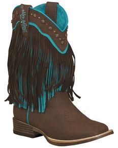 Blazin Roxx Girls' Candace Zipper Fringe Boots - Square Toe, Brown, hi-res