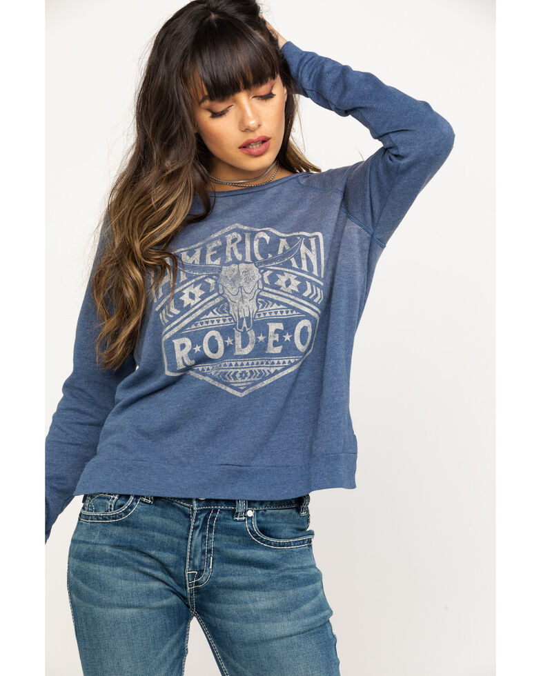 Rock & Roll Cowgirl Women's Charcoal American Rodeo Pullover , Blue, hi-res