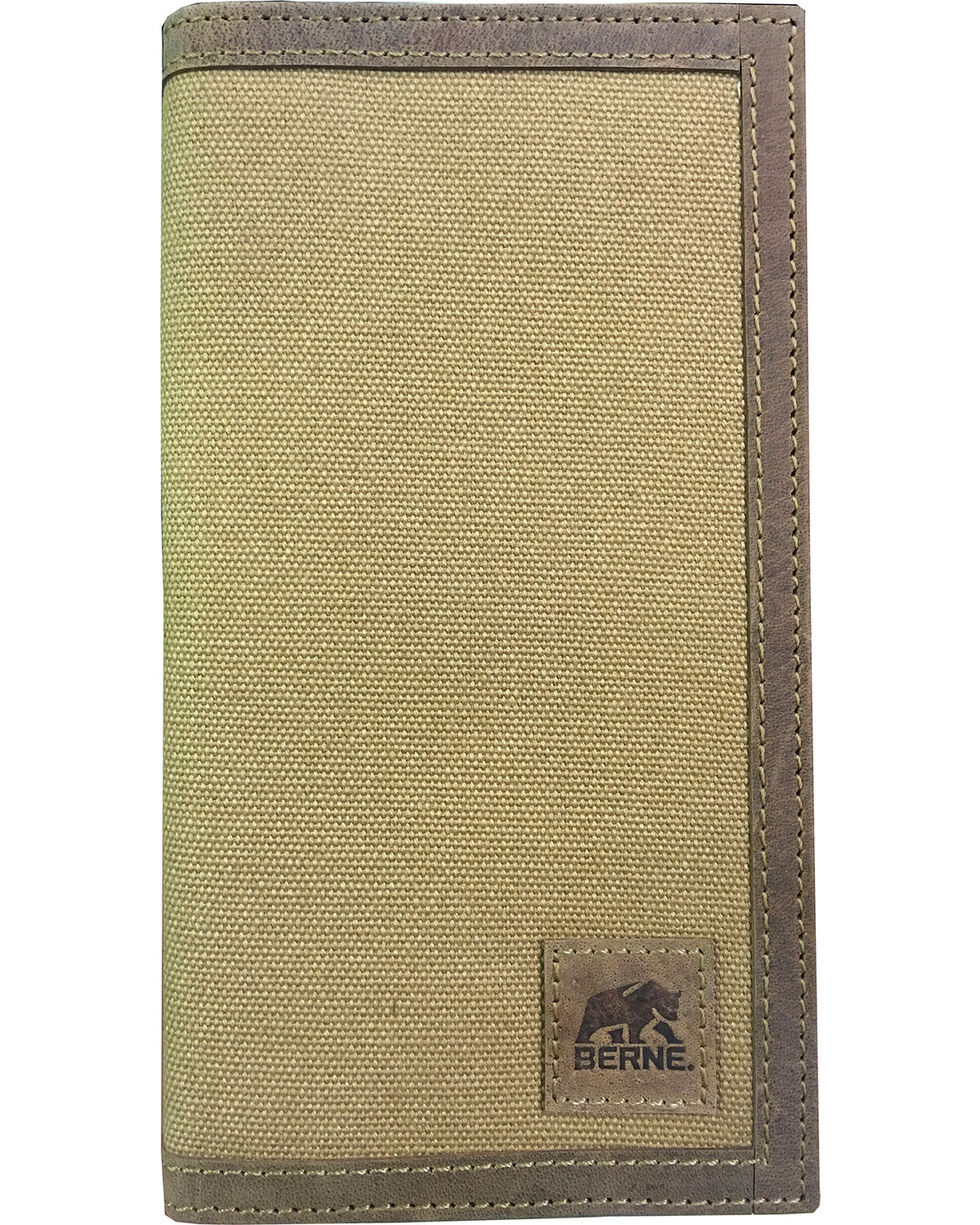Berne Men's Canvas Leather Trim Checkbook Wallet , Brown, hi-res